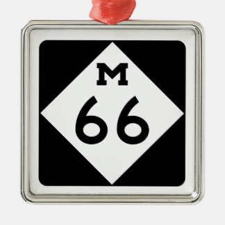 Michigan M-66 Adorno Navideño Cuadrado De Metal