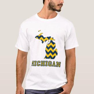 Michigan Maize and Blue Chevron Pattern Map T-Shirt