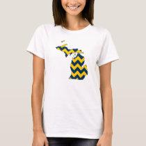 Michigan Maize and Blue Chevron Pattern T-Shirt