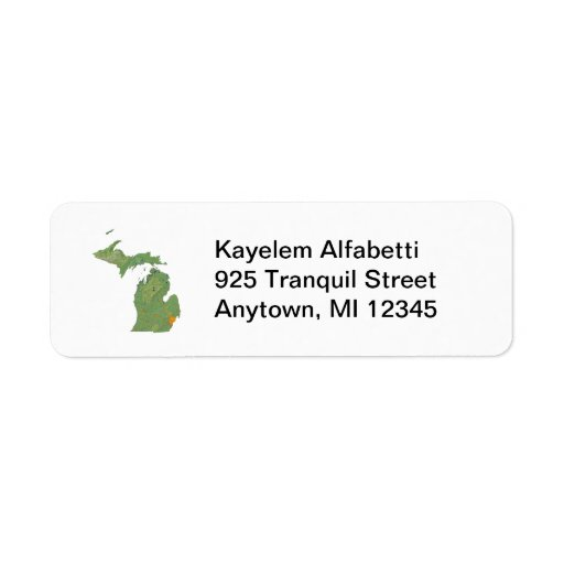Michigan Map Address Label