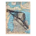 Michigan Map Art Postcard