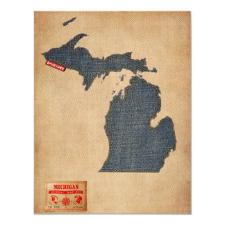 Michigan Map Denim Jeans Style Card