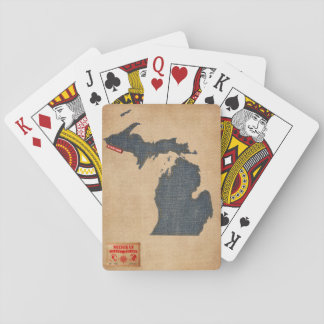 Michigan Map Denim Jeans Style Playing Cards