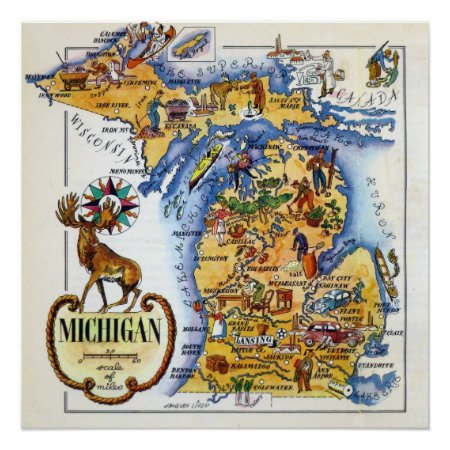 Michigan Map from the 1940s Poster