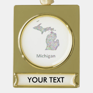 Michigan map gold plated banner ornament