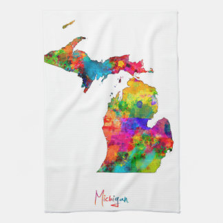Michigan Map Hand Towel