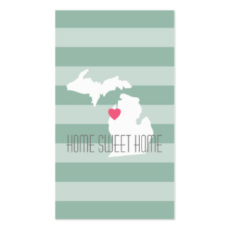 Michigan Map Home State Love with Custom Heart Business Card