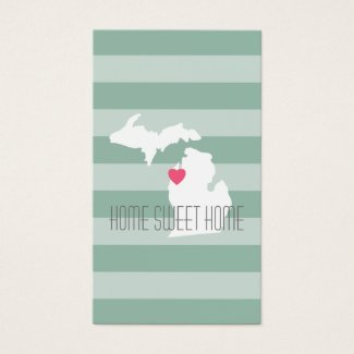 Michigan Map Home State Love with Custom Heart