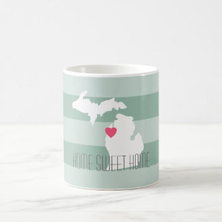 Michigan Map Home State Love with Custom Heart Coffee Mug