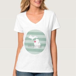 Michigan Map Home State Love with Custom Heart T-Shirt