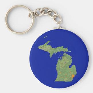 Michigan Map Keychain