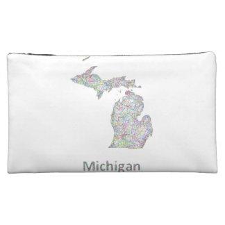 Michigan map makeup bag