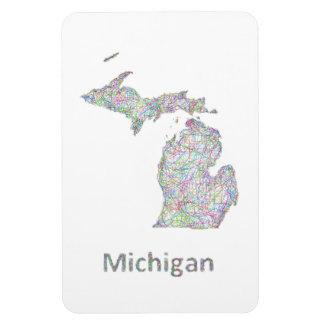 Michigan map rectangular photo magnet