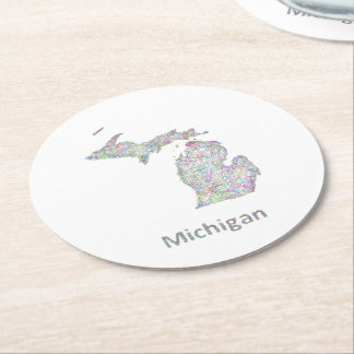 Michigan map round paper coaster