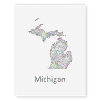 Michigan map temporary tattoos