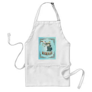 Michigan Map With Lovely Birds Adult Apron