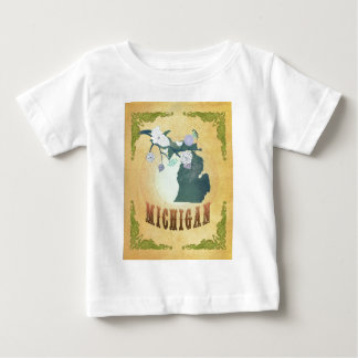 Michigan Map With Lovely Birds Baby T-Shirt