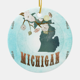 Michigan Map With Lovely Birds Ceramic Ornament