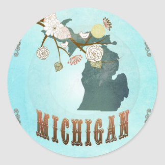 Michigan Map With Lovely Birds Classic Round Sticker