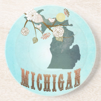 Michigan Map With Lovely Birds Coaster