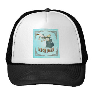 Michigan Map With Lovely Birds Hats