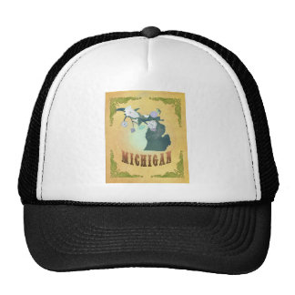 Michigan Map With Lovely Birds Trucker Hat