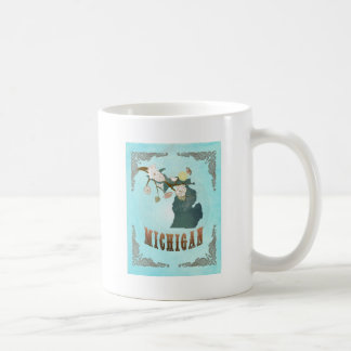 Michigan Map With Lovely Birds Coffee Mug