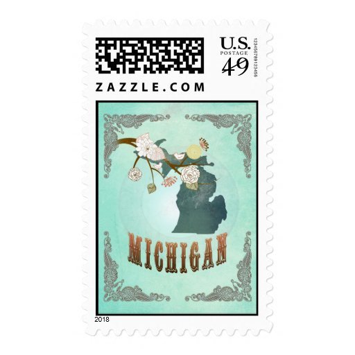 Michigan Map With Lovely Birds Stamp
