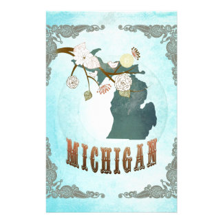 Michigan Map With Lovely Birds Customized Stationery