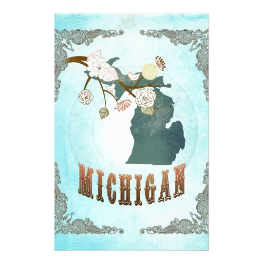 Michigan Map With Lovely Birds Stationery