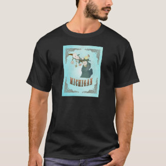 Michigan Map With Lovely Birds T-Shirt