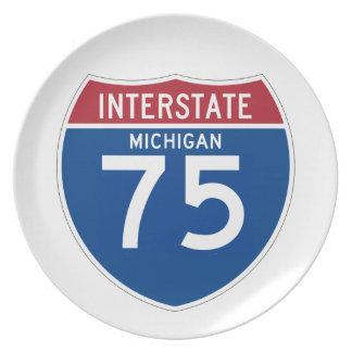 Michigan MI I-75 Interstate Highway Shield - Dinner Plate