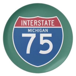 Michigan MI I-75 Interstate Highway Shield - Plate