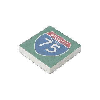 Michigan MI I-75 Interstate Highway Shield - Stone Magnet