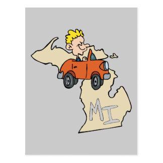 Michigan MI Map & Car Cartoon Art Motto Post Card
