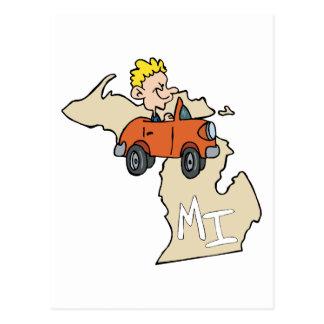 Michigan MI Map & Car Cartoon Art Motto Postcard