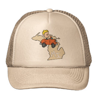 Michigan MI Map & Car Cartoon Art Motto Trucker Hat