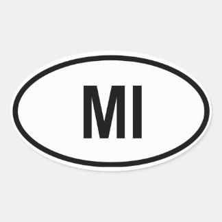 "Michigan ""MI "" Pegatina Ovalada"