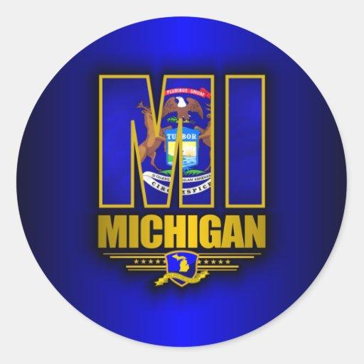 Michigan (MI) Pegatina Redonda