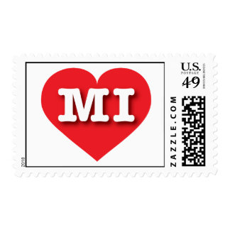 Michigan MI red heart Postage