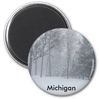 Michigan MI Winter Snow On The Trees Scene 2 Inch Round Magnet