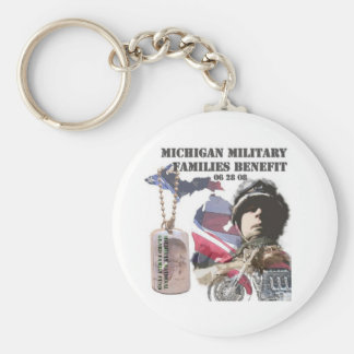 Michigan Military Families Benefit Basic Round Button Keychain