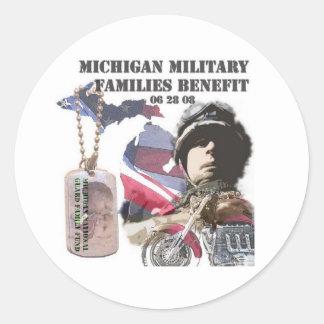 Michigan Military Families Benefit Classic Round Sticker