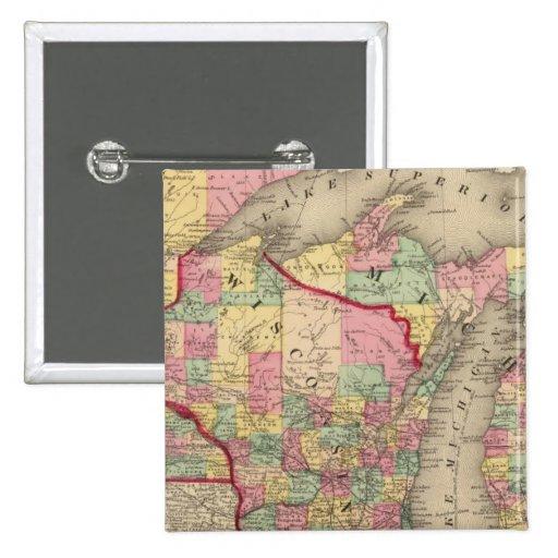 Michigan, Minnesota, and Wisconsin 2 2 Inch Square Button