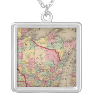 Michigan, Minnesota, and Wisconsin 2 Silver Plated Necklace