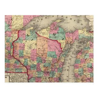 Michigan, Minnesota, and Wisconsin Postcard