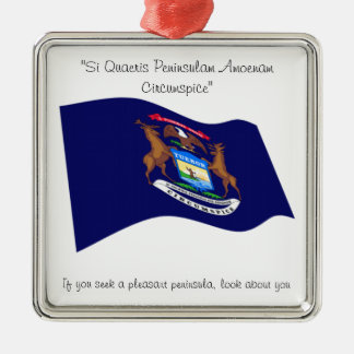 Michigan motto square metal christmas ornament