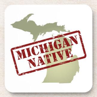 Michigan Native Stamped on Map Beverage Coaster