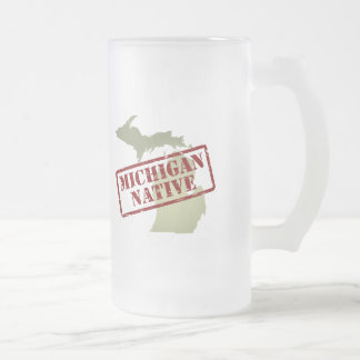 Michigan Native Stamped on Map Frosted Glass Beer Mug