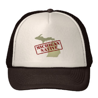 Michigan Native Stamped on Map Mesh Hats